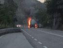 Autocisterna in fiamme tra Atena Lucana e Brienza. Intervengono i Vigili del Fuoco