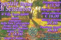 Offerte e menù speciali per il settembre del Villa Torre Antica ad Atena Lucana