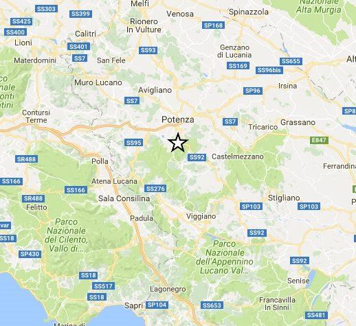 Lieve scossa di terremoto in provincia di Potenza. Epicentro Pignola. Magnitudo 2.3