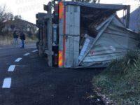 Camion carico di pedane si ribalta lungo una discesa a Vietri di Potenza. Ferito l'autista