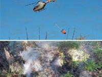 Sala Consilina: incendio in località Mezzaniello. Interviene l'elicottero dei Vigili del Fuoco