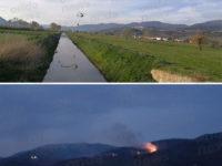 Vasto incendio in montagna ad Atena Lucana. Interviene l'elicottero dei Vigili del Fuoco