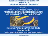"""Sant'Arsenio: il 27 maggio incontro """"Fondi Europei, ruolo dei Comuni nel rapporto con la Regione"""""""