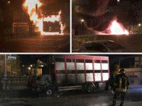 Polla: camion in fiamme in pieno centro. Intervengono i Vigili del Fuoco