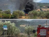 Incendio di vaste dimensioni a Buccino. In fiamme deposito dell'Anas