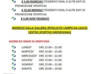 San Rufo: riapre domani, con nuovi orari, il Centro Sportivo Meridionale