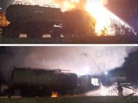 Autocisterna in fiamme a Trinità di Sala Consilina. Intervengono i Vigili del Fuoco