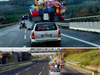 Auto sovraccarica avvistata in A2. Portapacchi stracolmo di bagagli e giocattoli