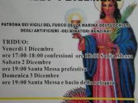 Sala Consilina: il 4 dicembre festeggiamenti in onore di Santa Barbara, patrona dei Vigili del Fuoco