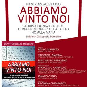 """Padula: il 15 dicembre presentazione del libro su Ignazio Cutrò """"Abbiamo vinto noi"""""""