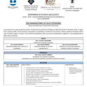 Sassano: domani seminario di studio per professionisti sulla dichiarazione di successione