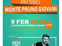 Il 9 febbraio all'assemblea dell'Associazione Monte Pruno Giovani il dinner show di Luigi Benvenuto