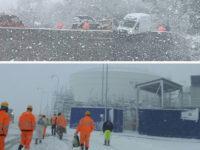 Ondata di neve in Val D'Agri e Melandro.Furgone sbanda e finisce sospeso su un ponte a Corleto Perticara