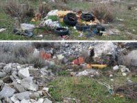 Rifiuti tra Teggiano e San Rufo. Pneumatici, materiale edile e plastica abbandonati nella vegetazione
