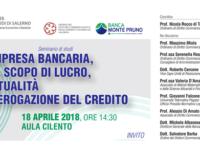 Banca Monte Pruno e Università di Salerno. Domani all'Ateneo il seminario sull'impresa bancaria