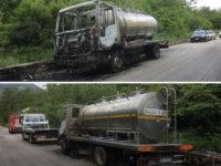 Autocisterna in fiamme a Sicignano degli Alburni. Intervengono i Vigili del Fuoco