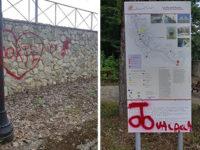 Atti vandalici a San Pietro al Tanagro. Spray rosso sulla fontana Canali, un muro e un segnale turistico
