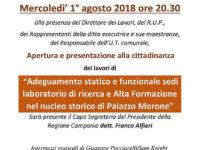 Caggiano: domani inaugurazione di Palazzo Morone a seguito dei lavori di riqualificazione