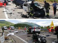 Tragico incidente sulla S.S.598 ad Atena Lucana. Perde la vita coppia di centauri pugliesi, tre feriti