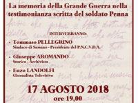 """Sassano: domani apertura della mostra """"Parole in trincea"""" con le testimonianze del soldato Penna"""