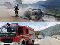 Auto in fiamme lungo il raccordo autostradale Sicignano-Potenza. I Vigili del Fuoco salvano una famiglia