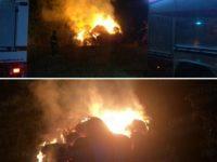Rotoballe di fieno in fiamme nella notte tra Padula e Arenabianca. Intervengono i Vigili del Fuoco