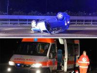 Incidente lungo l'A2 tra Pontecagnano e Battipaglia. Auto si ribalta, ferite due persone