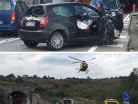 Auto contro un muro sulla Strada Statale 94 a Vietri di Potenza. Tre feriti, grave una donna