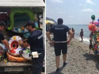 Blitz della Polizia Municipale sulla spiaggia del Mingardo a Camerota. Sequestrata merce ai vu cumprà