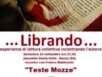 """Sanza: domani ritorna Librando con la lettura del romanzo """"Teste mozze"""" di Franco Maldonato"""