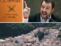 Raduno della Lega a Campagna. Sui muri spuntano scritte minatorie contro Matteo Salvini