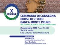 Banca Monte Pruno. Il 2 novembre cerimonia di consegna delle borse di studio per diplomati e laureati
