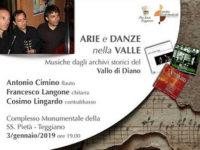 """Teggiano: domani il concerto """"Arie e Danze nella Valle"""" con i Maestri Cimino, Langone e Lingardo"""