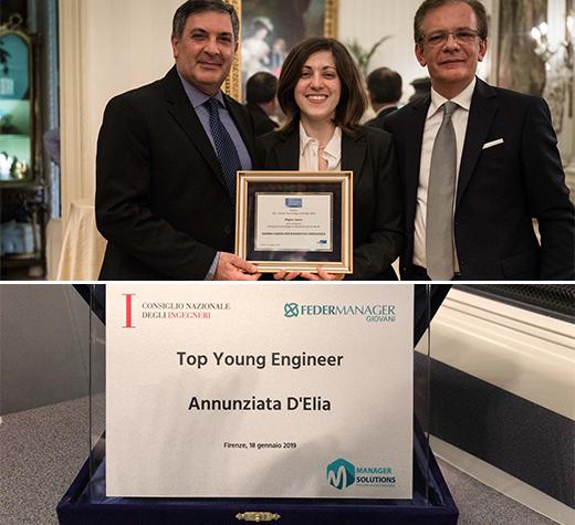 Annunziata D'Elia di Teggiano premiata a Firenze come Top Young Engineer da Federmanager