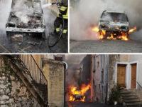 Paura a Teggiano. Auto prende fuoco nel centro storico