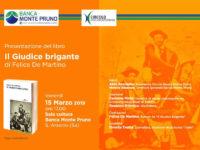 """Sant'Arsenio: il 15 marzo alla Banca Monte Pruno presentazione del libro """"Il giudice brigante"""""""