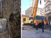 Crollo di un muro nel centro abitato di Ruoti. Al via le operazioni urgenti di messa in sicurezza