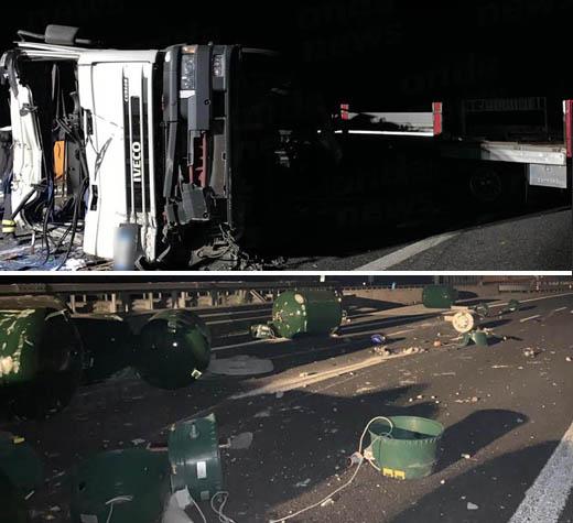 Paura sull'A2 tra Lagonegro e Padula. Camion di bomboloni per il gas perde il carico. Due feriti