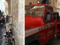 Statua si incendia nella chiesa di Sant'Andrea a Teggiano. I Vigili del Fuoco evitano il peggio