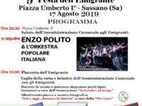 """Domani appuntamento a Sassano con la 9^ edizione della """"Festa dell'Emigrante"""""""