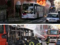 Autobus in fiamme nel centro di Potenza. Attimi di paura in piazza XVIII Agosto