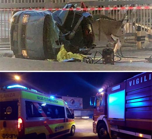 Tragico schianto all'alba a Salerno. Auto perde il controllo e si ribalta, un morto e quattro feriti
