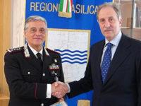 Sicurezza e legalità in Basilicata. Il Presidente Bardi riceve il Generale di Corpo d'Armata Tomasone