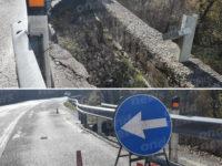 Tratto stradale franato sulla S.S.19 a Casalbuono. Pericolo e preoccupazione per gli automobilisti