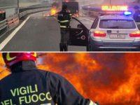 Paura in A2 del Mediterraneo tra Lauria e Laino Borgo. Autocarro avvolto dalle fiamme
