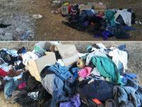 Cumuli di abiti e rifiuti abbandonati nei pressi del Fiume Calore a Montesano