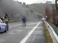 Paura lungo la Cilentana ad Agropoli. Camion prende fuoco durante il viaggio