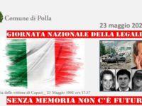 Polla: domani celebrazione della Giornata Nazionale della Legalità e della memoria per le vittime di Capaci