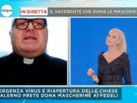 Mascherine con l'immagine dei Santi. La singolare iniziativa del parroco di Ricigliano sbarca su Canale 5