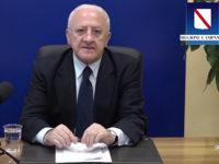 """Covid-19. De Luca rassicura:""""La Campania è sotto controllo, ma faremo tamponi di massa nei prossimi mesi"""""""